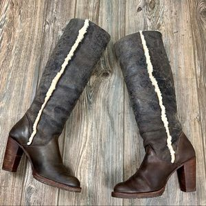 MICHAEL KORS brown leather shearling trim boots